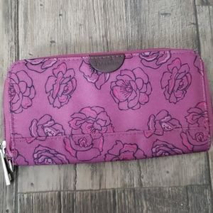 Travelon Rose Print Single Zip RFID Wallet
